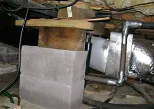 a poorly designed crawl space support system installed in a Bayside home