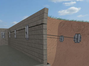 A graphic illustration of a foundation wall system installed in Woodhaven