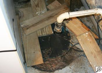 An ugly, clogged sump pump system in Astoria, New York