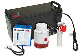 a battery backup sump pump system in Jackson Heights