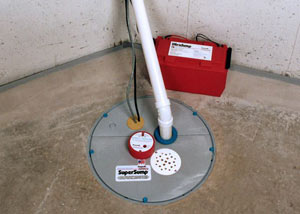 A sump pump system with a battery backup system installed in Woodhaven