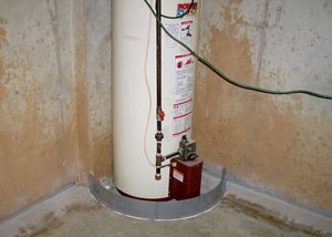 A water heater in Far Rockaway that's been protected by the FloodRing® and a perimeter drain system.