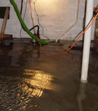 Several feet of floodwaters in a Long Island City basement