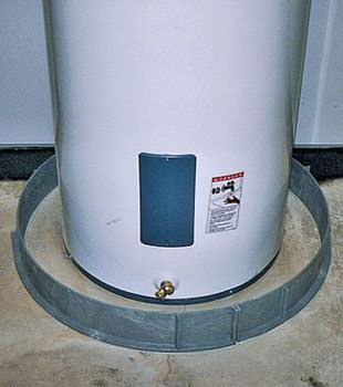 An old water heater in Saint Albans, NY with flood protection installed