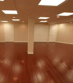 Rosewood faux wood basement flooring for finished basements in Brooklyn