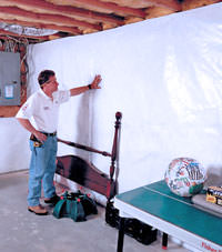 Plastic 20-mil vapor barrier for dirt basements, Ridgewood, New York installation
