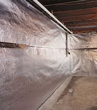 Radiant heat barrier and vapor barrier for finished basement walls in Ridgewood, New York